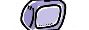 Il disegno di un televisore con i sottotitoli in basso sullo schermo.