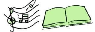 Il disegno di un pentagramma con le note e di un libro aperto.