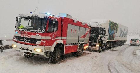 Maltempo, chiusa l'Autostrada del Brennero per neve