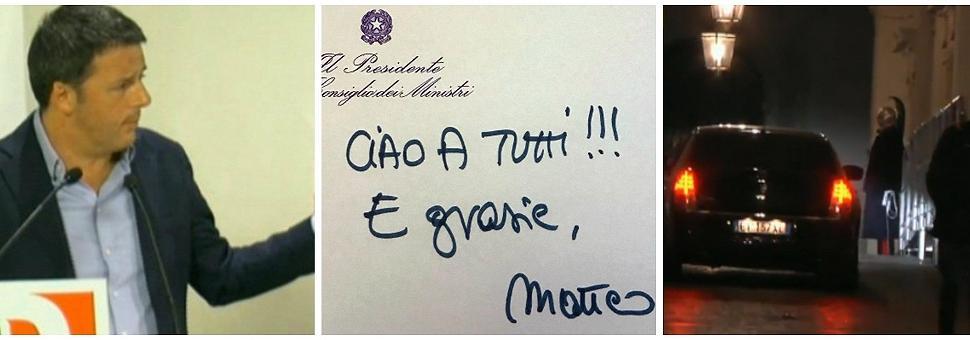 Matteo Renzi si è dimesso da domani le consultazioni