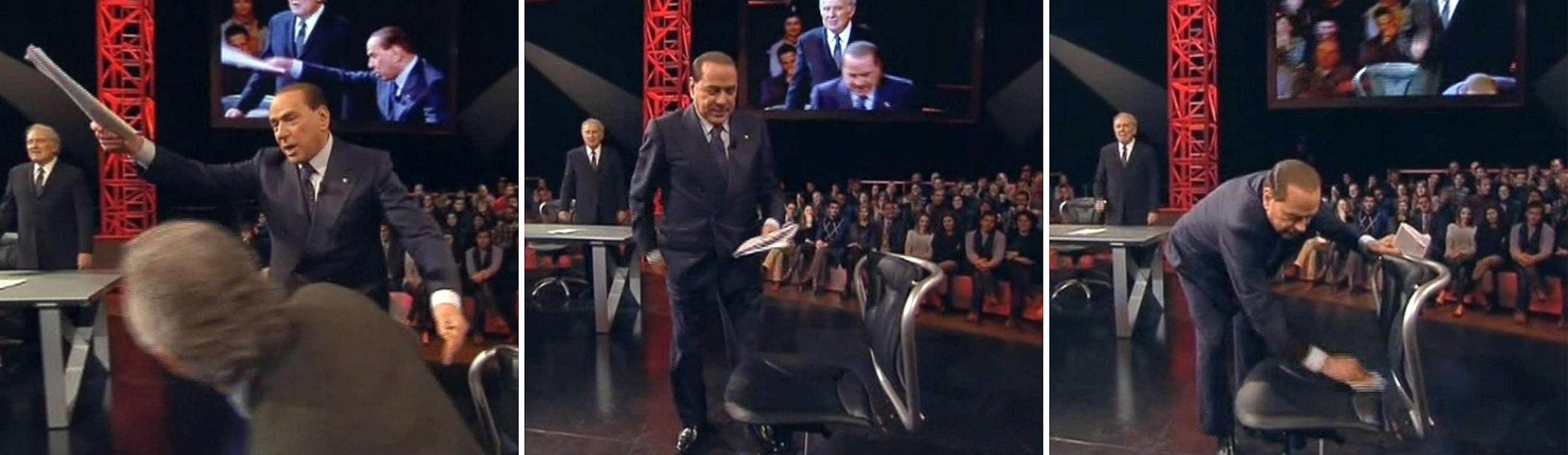 """Berlusconi esce dallo studio sorridente """"ˆ andata benissimo mi sono molto divertito"""" dice mentre saluta tutti ˆ seguito dal suo staff con Mariarosaria"""