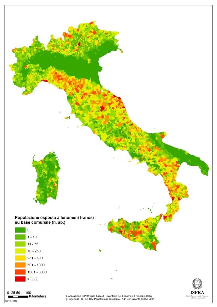 Popolazione esposta a rischio frane su base comunale