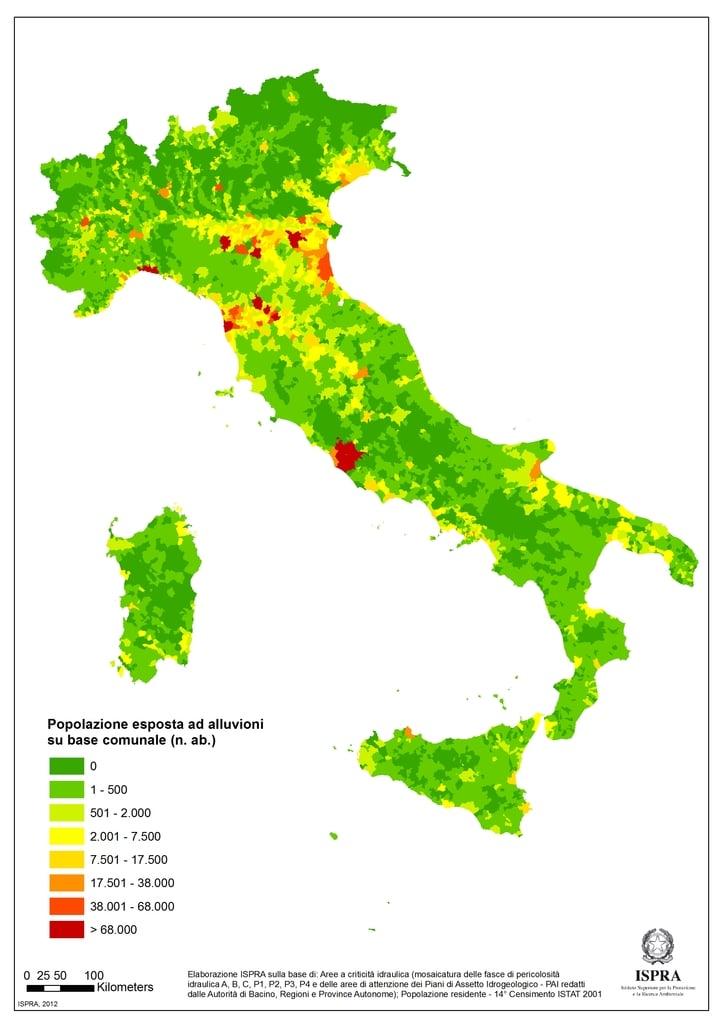 Popolazione esposta a rischio alluvioni su base comunale