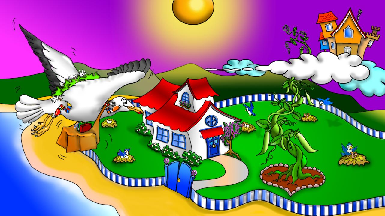Nel cielo violaceo splende un sole ocra. La veduta dall'alto mostra in primo piano, a sinistra, il gabbiano Augusto con le sorelle Verguenza, Speranza, Costanza e Perseveranza e i loro bagagli affondati tra le ali. Si dirige verso Villa Bianca, una accogliente dimora dai muri bianchi dai tetti rossi, circondata da un verdeggiante giardino pieno di nidi di uccellini. Al centro del giardino una maestosa pianta di pisello si arrampica fino alla nuvola dove le sorelle hanno costruito la loro sghemba dimora.