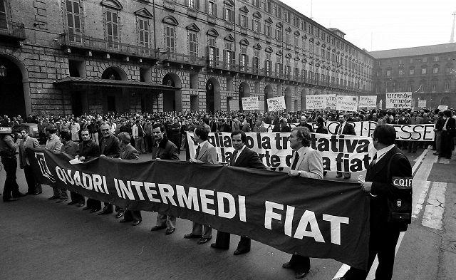 Torino, 1980. Sciopero degli operai Fiat (Ansa)