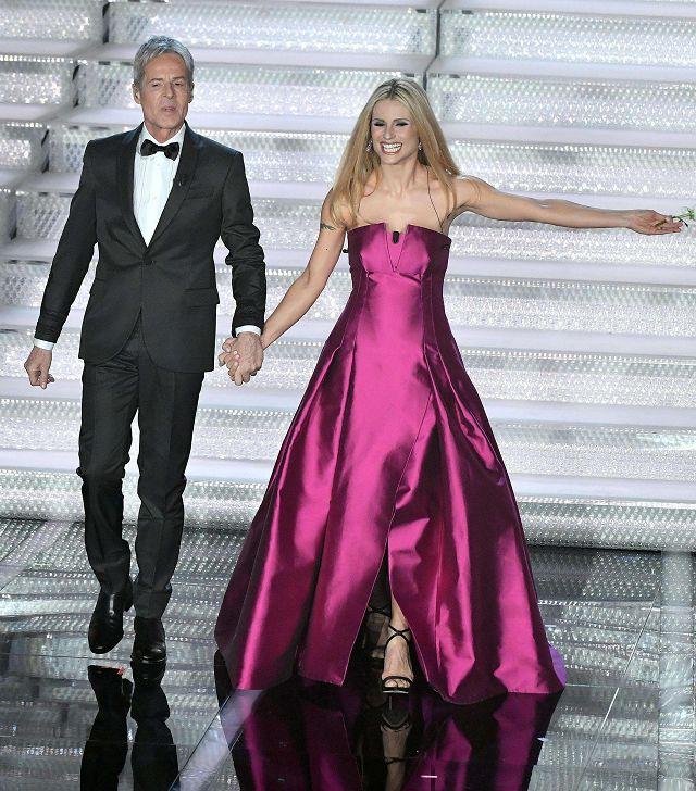 Claudio Baglioni e Michelle Hunziker, Sanremo 2018 (Ansa)